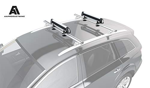 AA Products Aluminum Universal Ski/Snowboard Roof Rack, Ski Roof Carrier Fit Most Vehicles Equipped Cross Bars
