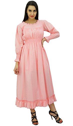 Women's Bimba Maxi Dress Cotton Smocked Pink Waist Casual Long 6dPHdr7qw