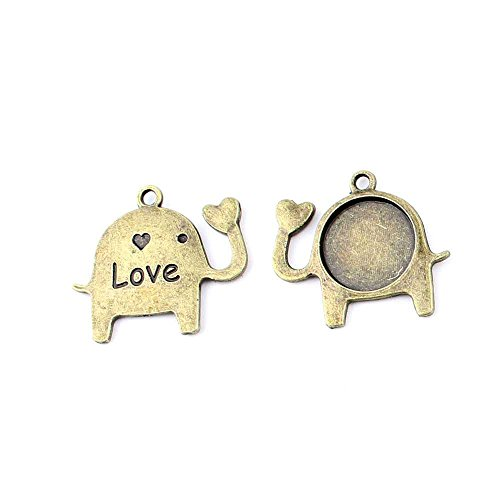 60 Pieces Jewelry Making Charms 823TV Elephant Setting Cabochon Frame Blanks Findings Antique Brass Retro DIY Vintage Supply Supplies Craft ()