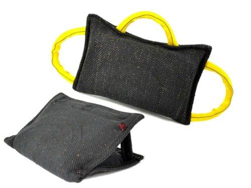 Bundle - 1 - 3 Handle French Linen Bite Pillow, 1 - 3 Handle French Linen Bite Wedge - Redline K9