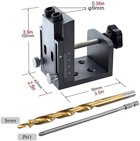 Pocket Hole jig Woodwork Tool Set Pocket Hole Locate Punch Jig Kit Hole Puncher with 9mm Step Drilling Bit