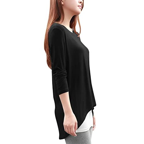 f16a1f06f930b 85%OFF Allegra K Women Scoop Neck Long Sleeve Asymmetric Hem Loose Stretchy  Top