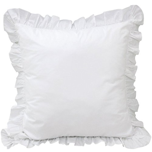 White Ruffle Pillow Shams Set of 2 - Luxury 550 Thread Count 100% Egyptian Cotton Cushion Cover Euro Size Decorative Pillow Cover European Pillow Sham (2 Pack, Euro 28 ''x 28'') by White House