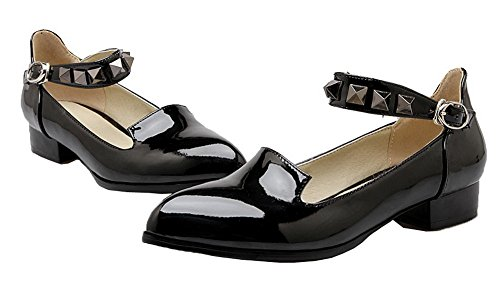 Mujeres de Zapatos AllhqFashion Cerrada Charol Hebilla Tac Puntera Tachonado Bdw60qw