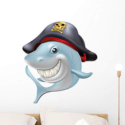 Wallmonkeys Pirate Shark Cartoon Wall Decal Peel and Stick Animal Graphics (24 in H x 22 in W)...