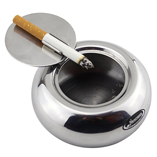 Ashtray, Newness Stainless Steel Modern Tabletop Ashtray with Lid, Cigarette Ashtray for Indoor or Outdoor Use, Ash Holder for Smokers, Silver (Ashtray Cigar Glass Art)