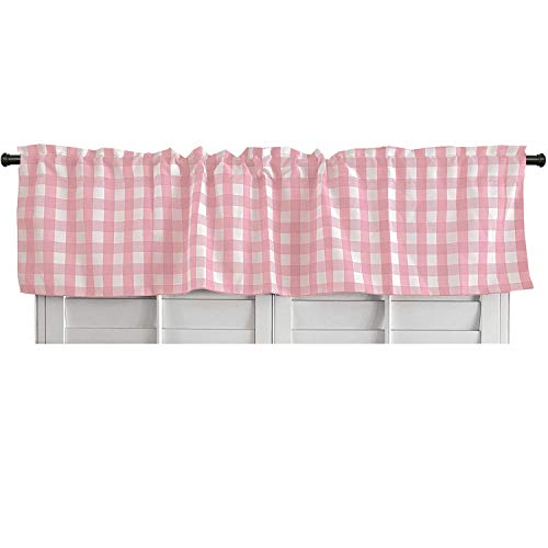 lovemyfabric 100% Polyester Gingham Checkered Plaid Design Kitchen Curtain Valance Window Treatment (Pink)