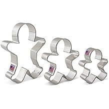 """Gingerbread Man / Men Cookie Cutter Set - 3 Piece - 2.875"""", 3.75"""", 5"""" - Ann Clark Cookie Cutters - US Tin Plated Steel"""