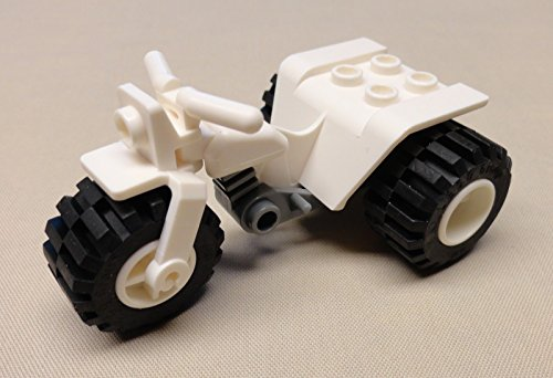 Lego City - Minifigure Quad Motorcycle Bikes White 1pcs (Bike Lego Quad)