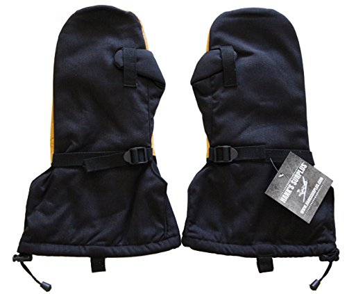 ary Camouflage Arctic Cold Weather Leather Mittens & Wool Liners (XL, Black) (Nylon Wool Mittens)
