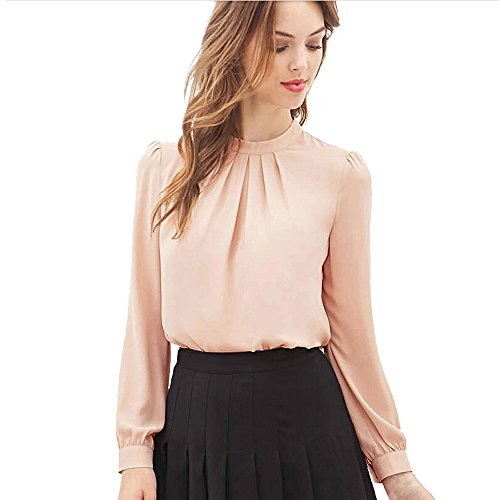 Blackobe Women Elegant Shirt Summer Round Neck Fold Loose Chiffon Blouse (XL, Pink)