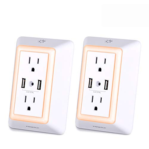 USB Wall Charger, Surge Protector, POWRUI USB Outlet with 2 USB Ports (2.4A Total) and Dusk-to-Dawn Sensor Night Light, 1080Joules, White (2-Pack)