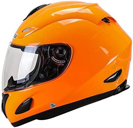 ZJJ ヘルメット- 電動バイクのフルカバーヘルメット、雨と紫外線保護ヘルメット、HD透明レンズ (色 : Orange, サイズ さいず : M)