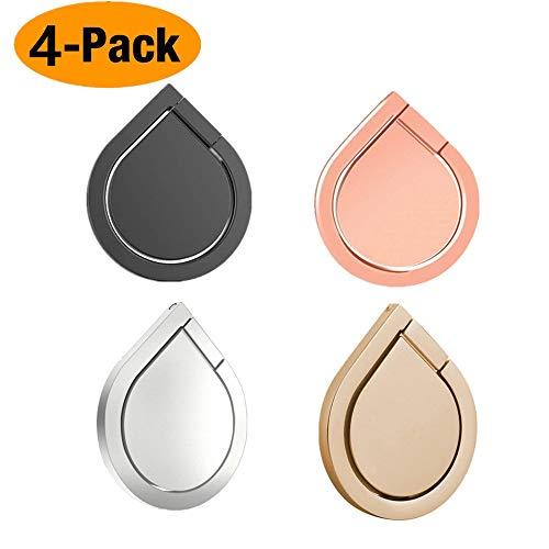 Cell Phone Ring Stand Holder, ANLOER 4-Pack 360°Rotation Water Drop Shape Magnetic Phone Grip Kickstand, Zinc Alloy Finger Ring Stand for iPhone X, 8, 8 Plus, 7, 7 Plus, 6S Plus, Samsung Galaxy