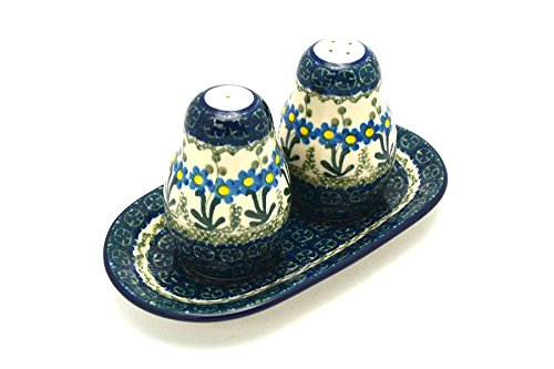 Polish Pottery Salt & Pepper Set - Blue Spring Daisy (Shakers Pottery)