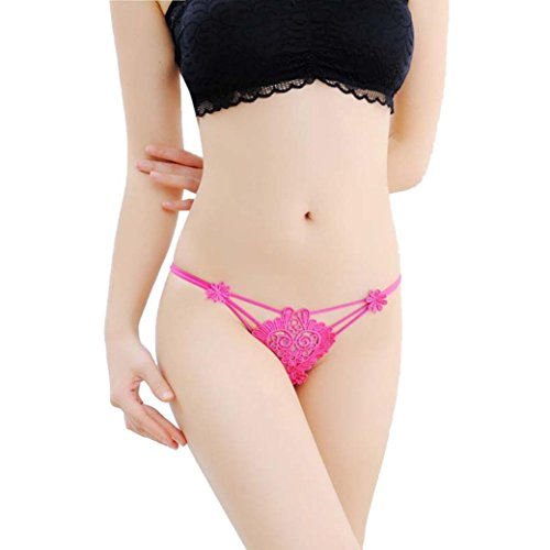 Lightning Deals Lace G-string,ZYooh Women Sexy Super Thin Hollow Thongs Temptation Breathable Lingerie (Hot pink, Free Size) (Lace Tanga Boyshort)