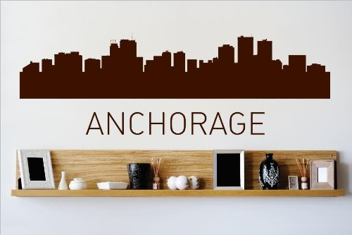 Decal – Vinyl Wall Sticker : Anchorage Alaska AK Skyline City View Beautiful Scene Landmarks, Buildings & Water Bedroom Bathroom Living Room Picture Art Peel & Stick Mural Size : - Day Kids Anchorage