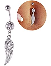 Niome Feather Wing Crystal Navel Belly Button Barbell Ring Body Jewerly Piercing Drooping Studs