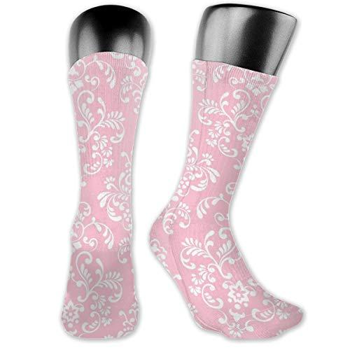 CAWHJDW Unisex Pink Damask Pattern Crew Socks Casual Boot Socks Baseball Sports Stockings