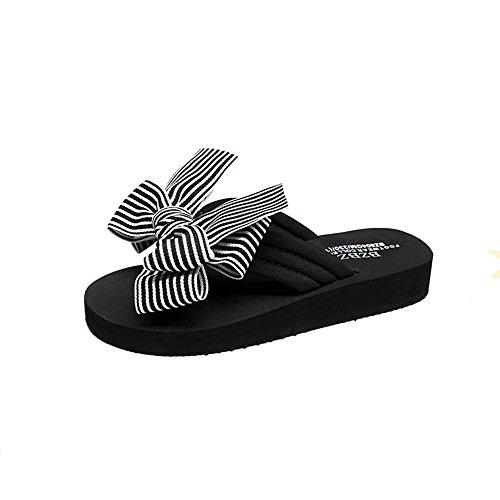 Sandalias de verano femeninas Sweet Bow desgaste exterior gruesas sandalias fondo plano antideslizantes zapatos de playa ( Color : 2 , Tamaño : EU38/UK5.5/CN38 ) 2