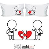 BoldLoft Lesbian Couple Pillowcases- Lesbian Couple Gifts, Lesbian Gifts, Lesbian Wedding Gifts, Hers and Hers Gifts, Gifts for Lesbian (Puzzle)