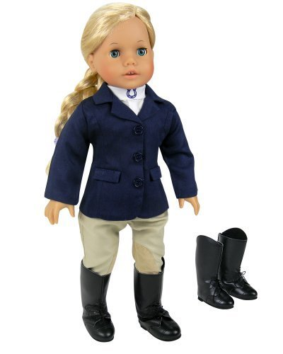 18 Inch Doll Navy Horse Riding Outfit & Stylish Horse Riding Boots, 4 Pc. Doll Clothing Set Fits American Girl Dolls & More! Sophia's Detailed Set Includes Doll Boots