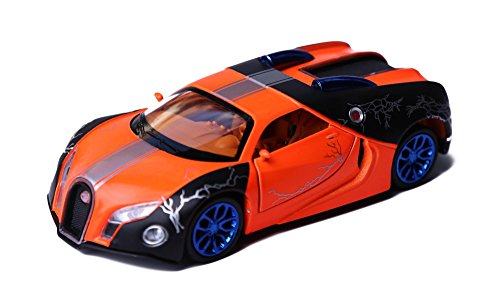 Christmas Pull Toy (Berry President(TM) 1:32 Bugatti Veyron Diecast Scale Model Alloy Supercar Model Vehicle Simulation Toy for Children Electric Pull Back Cars Sound & Light - Birthday Christmas Gift (OrangeCar))