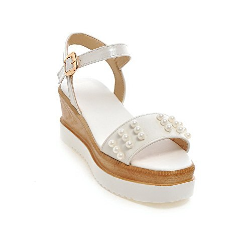 AmoonyFashion Womens Soft Material Open Toe Kitten-Heels Buckle Solid Sandals White o9f9J