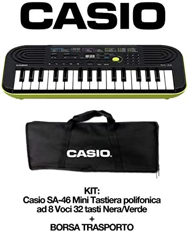 Casio SA-46 Alimentatore per tastiera Nero Casio AD-E95100LG AC Adaptor Mini Tastiera polifonica 8 Voci e 32 tasti Nera//Verde Borsa Custodia per Trasporto Originale Casio non imbottita