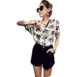 HFSMD Fashion Summer Print T Shirt Blouses Tops (M(chest:39.37''), Cat head)