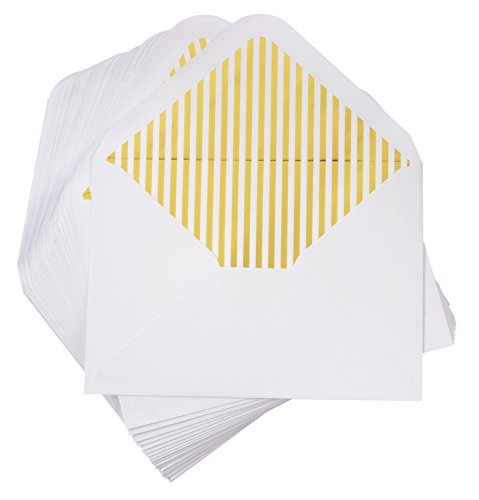 A7 Luxurious Envelope - 50-Pack Invitation Envelopes with Lined Gold Foil Stripes, 5 x 7 Gummed Seal V-Flap Invite Envelope for Wedding, Graduation, Birthday, 120gsm, 5.25 x 7.25 inches, White ()