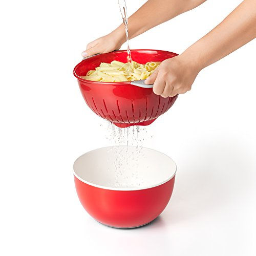 Oxo Good Grips 3 Piece Bowl And Colander Set  Red