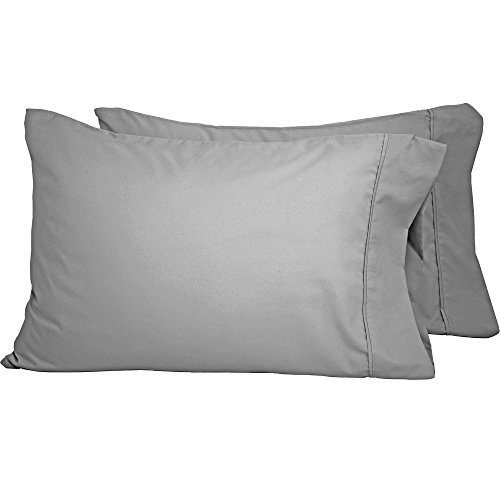 Premium 1800 Ultra-Soft Microfiber Pillowcase Set - Double Brushed - Hypoallergenic - Wrinkle Resistant (King Pillowcase Set of 2, Light Grey)