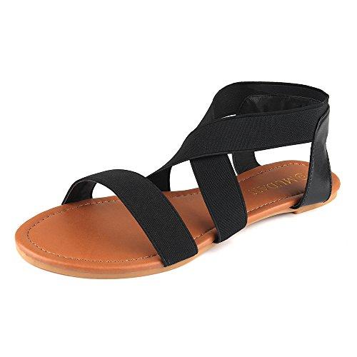 MuDan Women's Elastic Flat Sandals (9 B (M) US, Black-a) (Sandals Womens Strappy)
