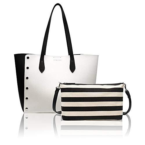 Designer Handbags Set for Women Vintage Style Soft Leather Tote Shoulder Bag Large Capacity Top Handle Satchel Purse Set (White Leather Large Tote)