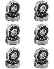 Tomedeks 608 ZZ kogellagers, 12 stuks 8 mm x 22 mm x 7 mm metalen dubbel afgeschermde miniatuur diepe groef kogellagers, geschikt voor skateboard inline skates