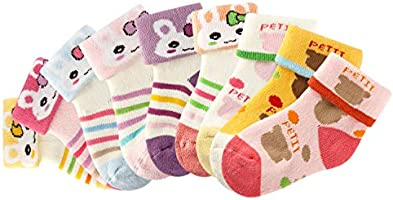 Growth Pal 9 Pack Thick Cotton for Little Kids Socks Colorful Baby Socks for Toddlers Boys and Girls 0-5 Years Old
