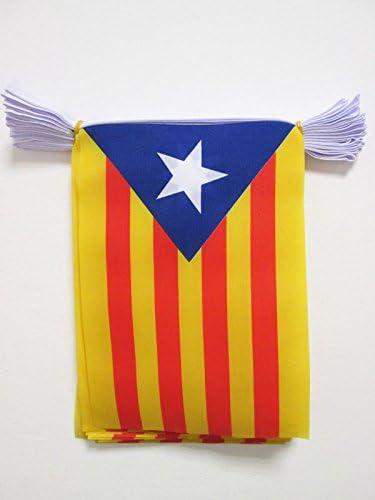 AZ FLAG Guirnalda 6 Metros 20 Banderas de CATALUÑA ESTELADA BLAVA 21x15cm - Bandera CATALANA INDEPENDENTISTA – Catalunya 15 x 21 cm - BANDERINES: Amazon.es: Jardín