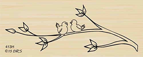 Lovebirds Branch Rubber Stamp By DRS Designs ()