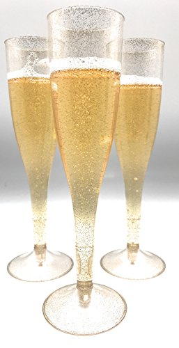 30pc Clear Plastic With Gold Glitter Classicware Glass Like Champagne Wedding Parties Toasting Flutes by Oojami (Image #4)