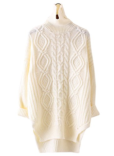 Futurino Women's Warm Cable Diamond Knit Turtleneck Long Pullover Sweaters Top (Sweater Cable Sale Sweaters Turtleneck)