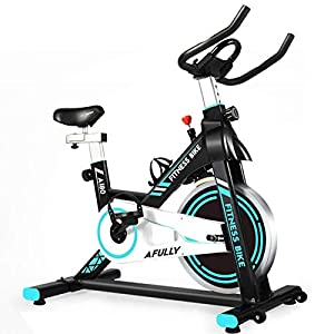 Well-Being-Matters 41VRBKOj3XL._SS300_ Afully Indoor Exercise Bike, Indoor Cycling Stationary Bike Belt Drive with Adjustable Resistance, LCD Monitor, Pad…