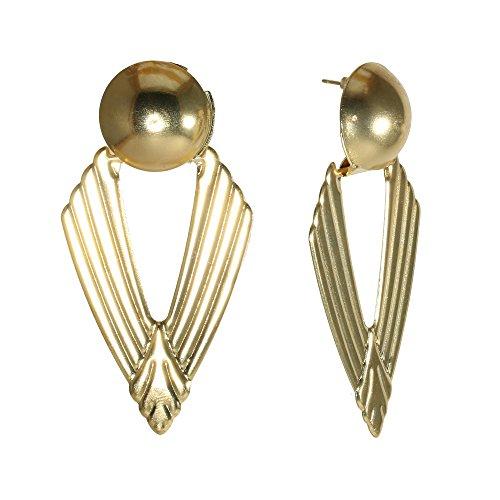 Fashion Goldtone Triangle Ball Drop Earrings Metal Kleopatra Egyptian Chic Jewelry (Cleo)]()