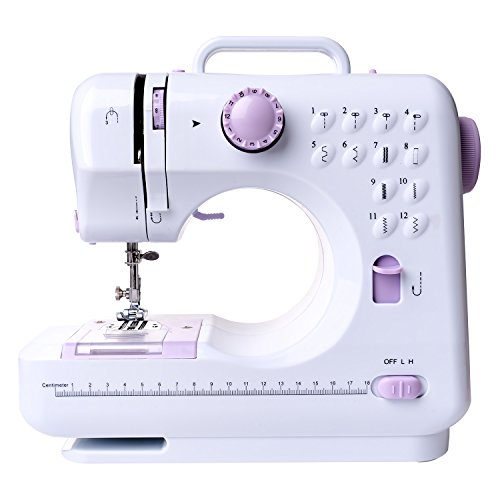 Portable Sewing Machine, Hand Held Overlock Quilting Double Speed Compact Sewing Machine with 12 Stitches Patterns, Sewing Light, Drawer, Foot Pedal by ITgut