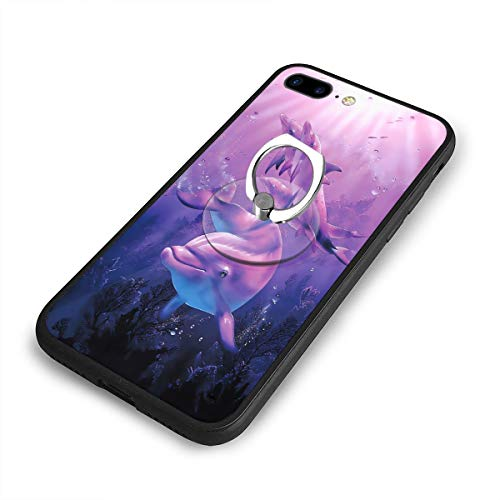 Purple Dolphin Under The Sea Phone Case for iPhone 7 Plus/8 Plus Full Body Protection Cover Case 360 Slim Cover Soft Flexible TPU Protector Cover with Ring Holder Stand for iPhone 6 Plus/6s Plus