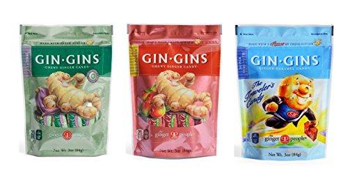 Gin Gins Gluten Free Vegan Ginger Candy 3 Flavor Variety Bundle, 1 each: Original, Spicy Apple, Super Strength (3 Ounces)