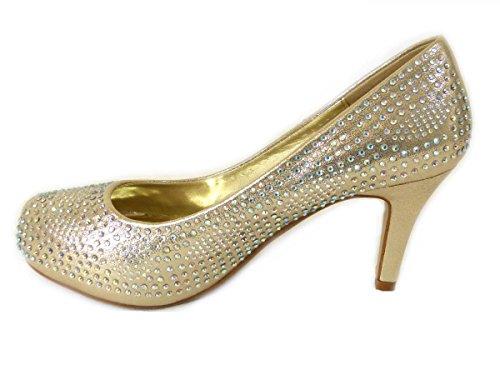 Gull Domstol Damene Partiet Bryllup Er Hæl 1 Sko Mid Kvinners Brude Sko Cinderella Prom Lav n123 Diamante Størrelse q7ZgFgwCSx