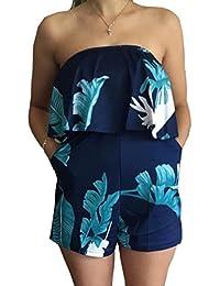Women Off Shoulder Romper Strapless Floral Print Striped...