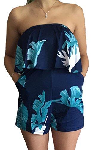 (ECOWISH Women Off Shoulder Romper Strapless Floral Print Striped Beach Shorts Jumpsuit X-Large Blue0329)