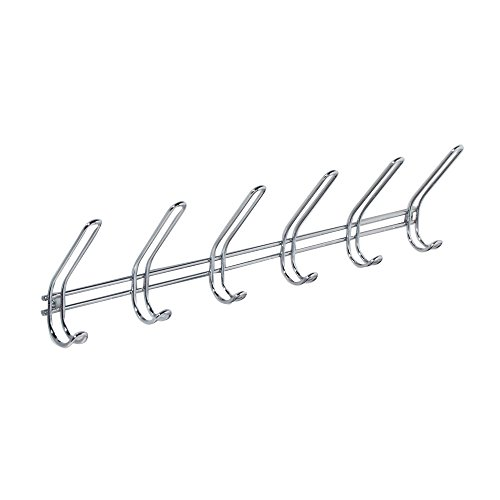InterDesign Classico Wall Mount Storage Rack – 6 Hallway Hanging Hooks for Jackets, Coats, Hats and Scarves, - Wall Rack Hooks Coat